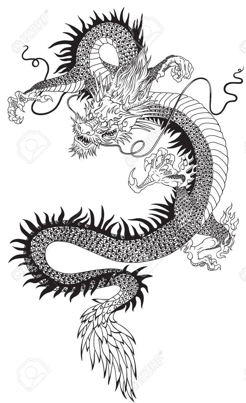 Una Ilustración Vectorial De Un Dragón Chino Ilustración Del