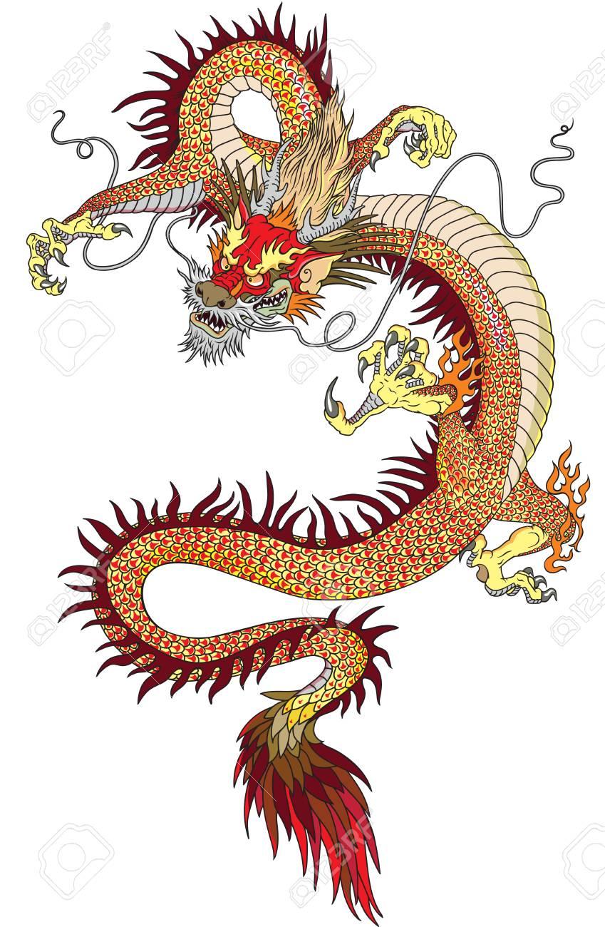 Dragon Chinois tatouage dragon chinois isolé sur blanc clip art libres de droits