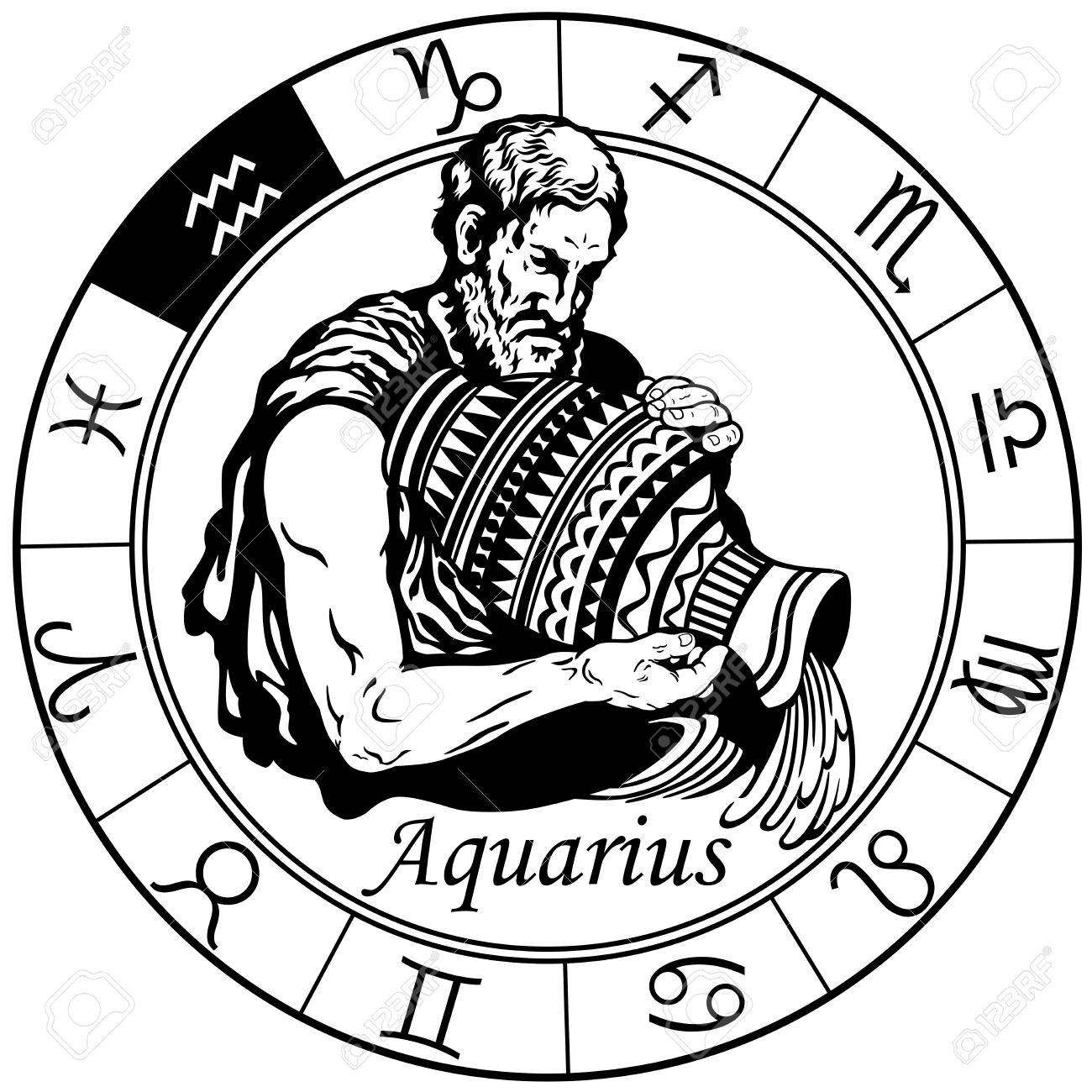 ce7f30a87 aquarius astrological horoscope sign in the zodiac wheel. Black and white  vector illustration Stock Vector