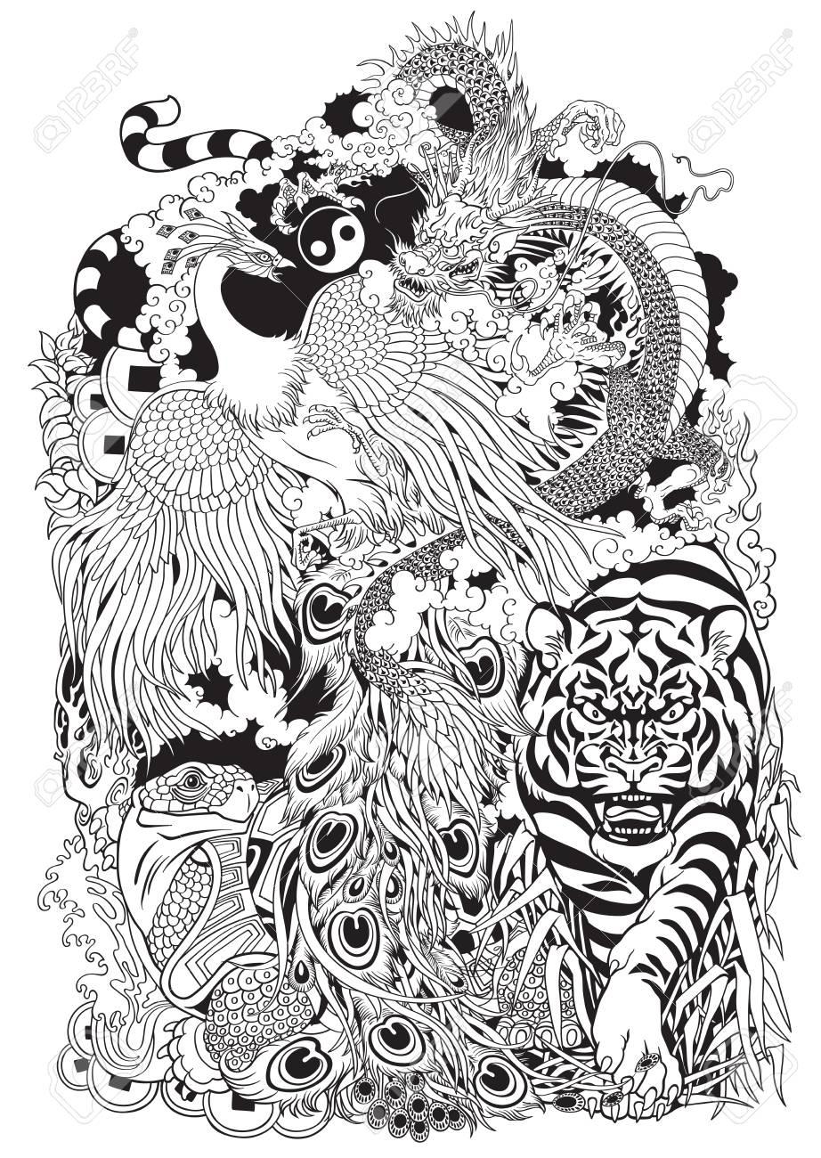 Quatre Animaux Celestes En Feng Shui Dragon Phenix Tortue Et