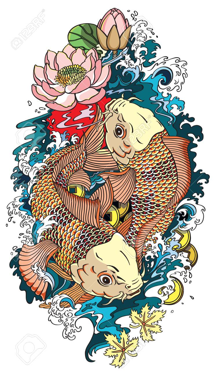 Two Koi Gold Carp Fishes Lotus Flower With Water Splash And