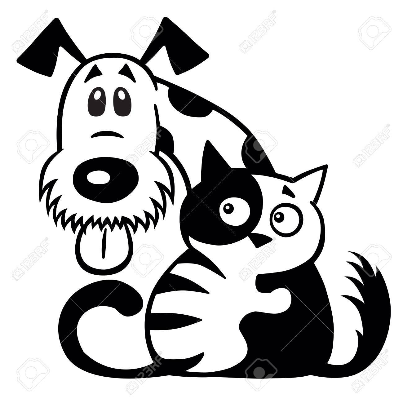 Dibujos Animados De Pequeño Gato Abrazando A Su Perro Amigo Mascotas Amistad Logotipo Blanco Y Negro