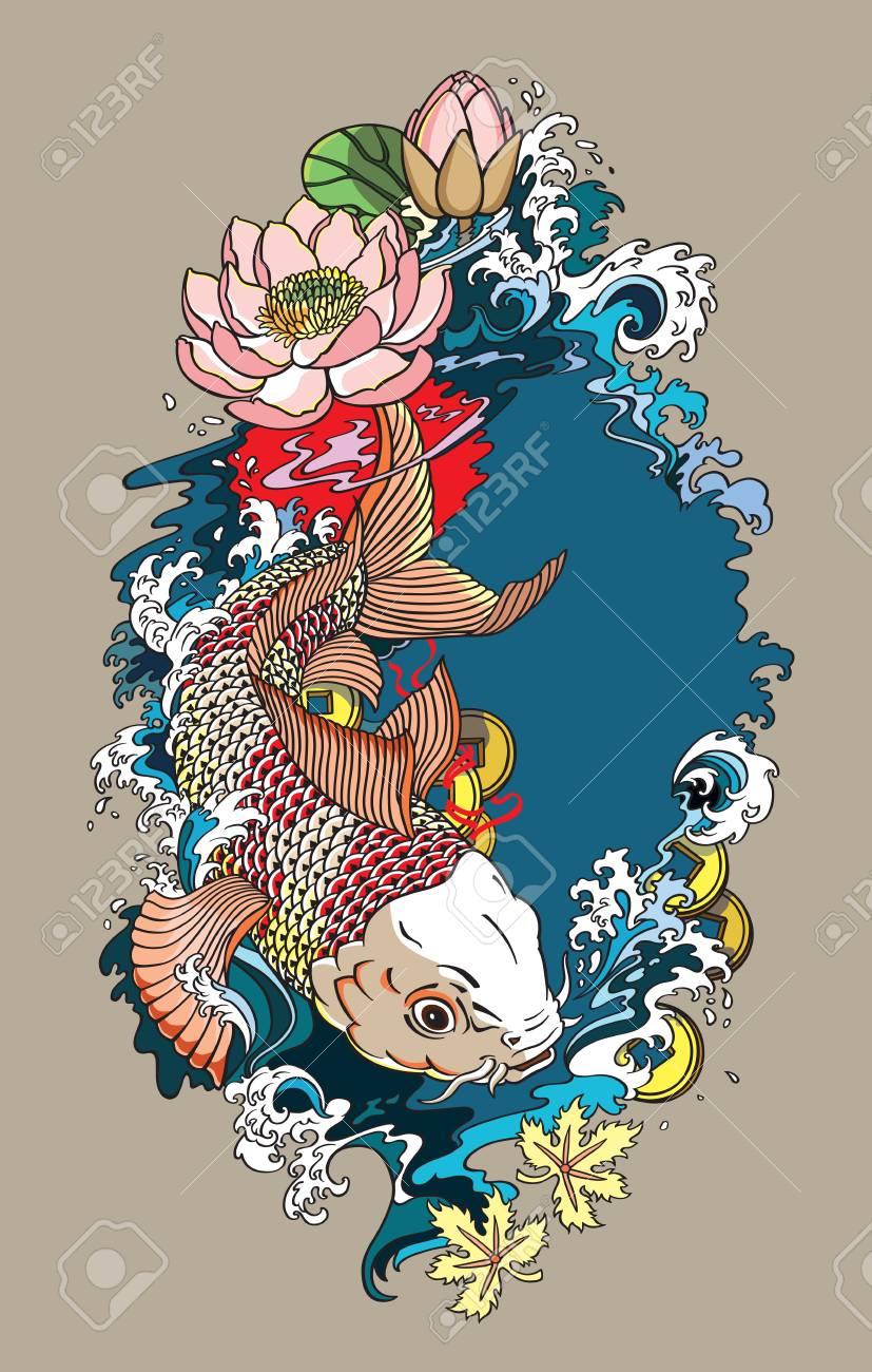 Dessin Japonais Carpe Koi poisson carpe japonais koi or. fleur de lotus avec des éclaboussures