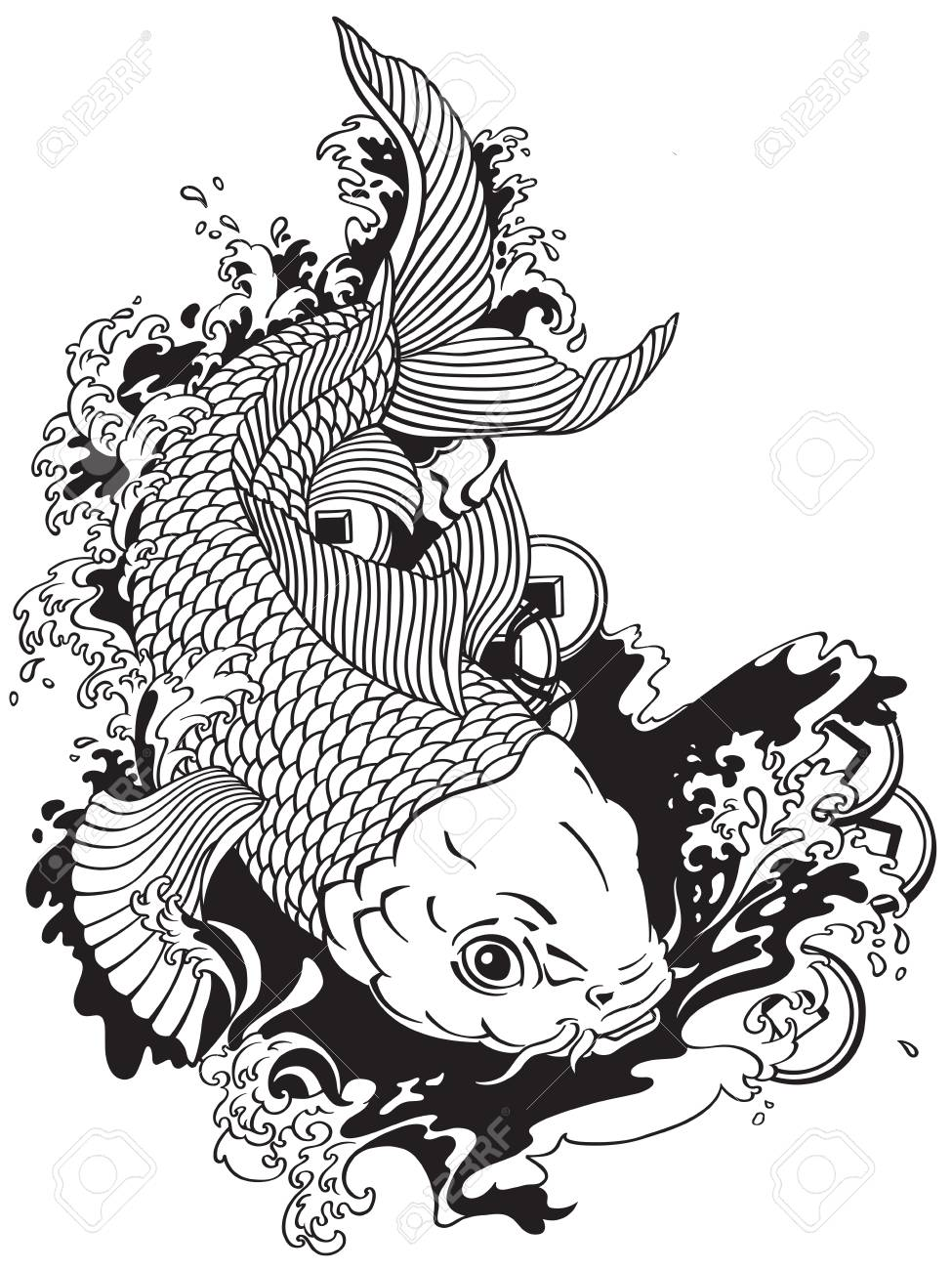 japanese carp koi gold fish swimming in a pond with feng shui money coins . Tattoo style black and white vector illustration - 88478344