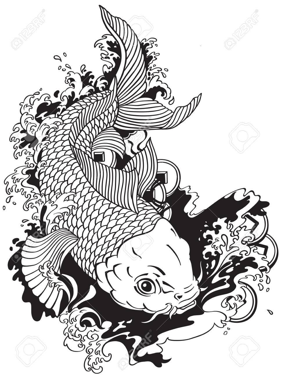 Carpe Japonaise Koi Poisson D Or Nageant Dans Un Etang Avec Des