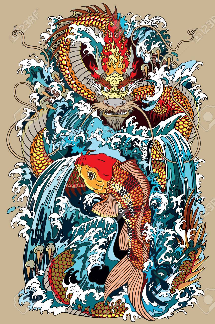 golden dragon and koi carp fish which is trying to reach the top of the waterfall. Tattoo style vector illustration according to ancient Chinese and Japanese myth - 90332649