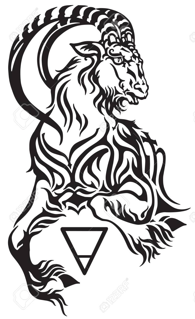 Capricorn zodiac sign, tribal tattoo style mythological creature