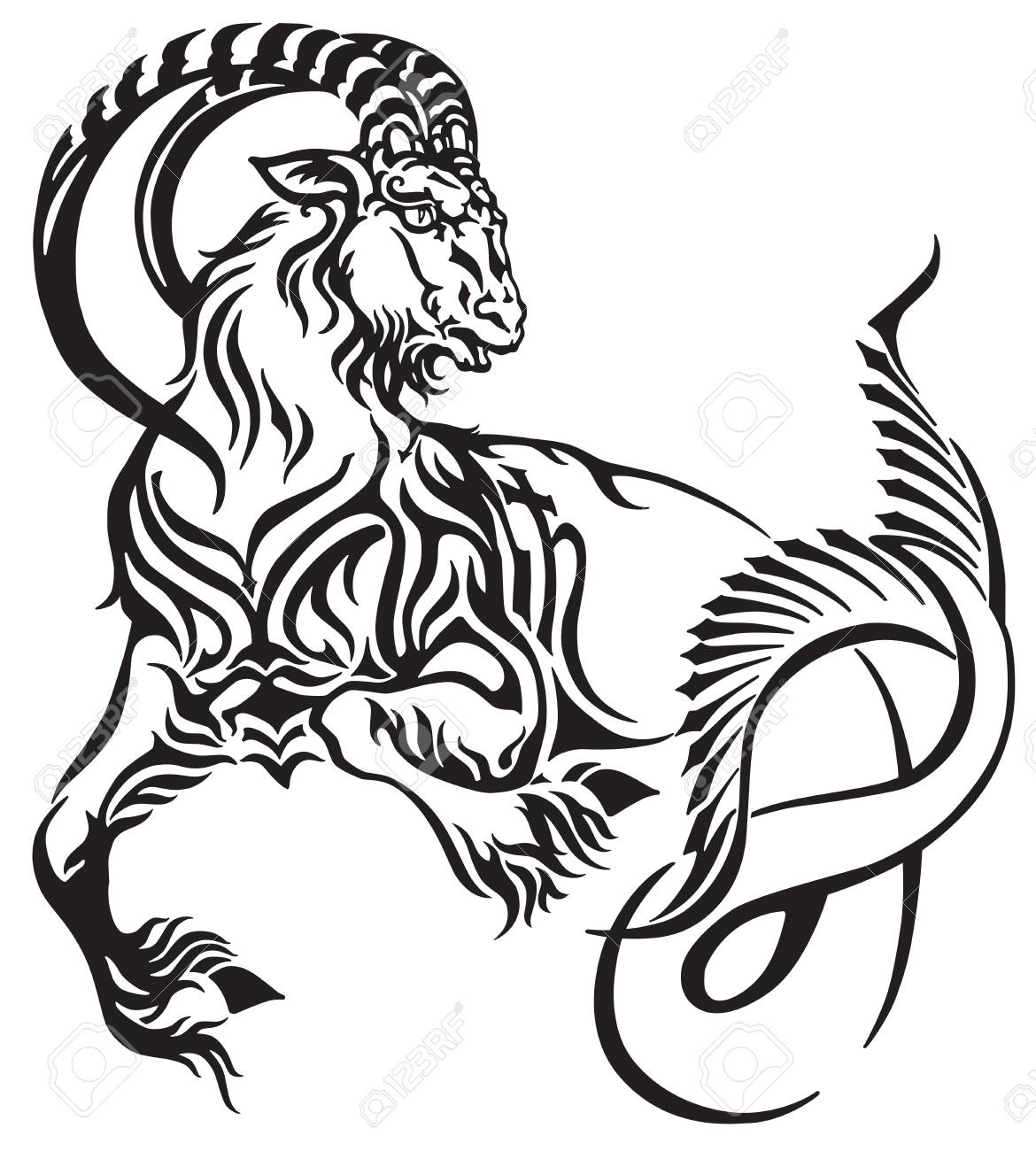5262833f2 Capricorn zodiac sign. Tribal tattoo style mythological creature.  Astrological sea goat including symbol of