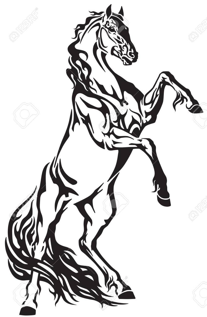 Horse head tribal tattoo, logo, icon . Black and white vector illustration - 94370338