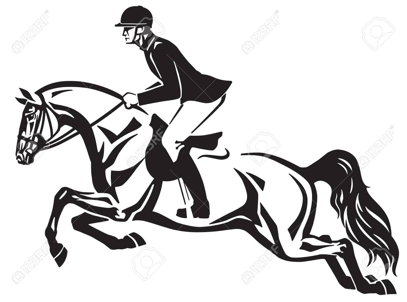 Horse And Rider Jumping Over A Fence Equestrian Stadium Showjumping Royalty Free Cliparts Vectors And Stock Illustration Image 96000724
