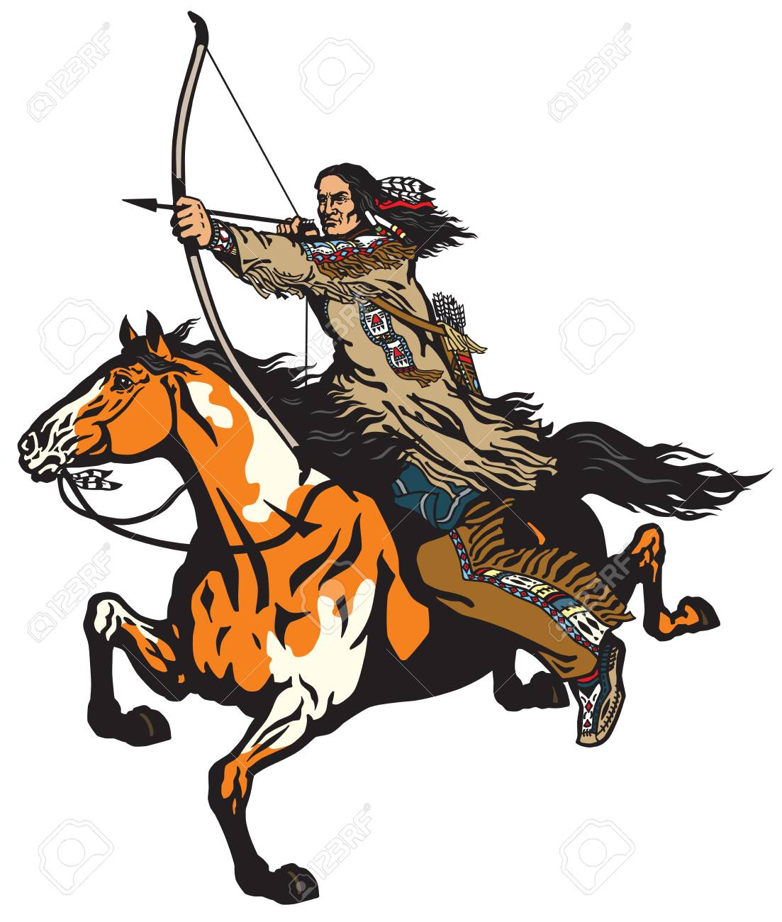 American Native Indian Archer On A Horseback Riding A Pinto Colored Royalty Free Cliparts Vectors And Stock Illustration Image 103958594