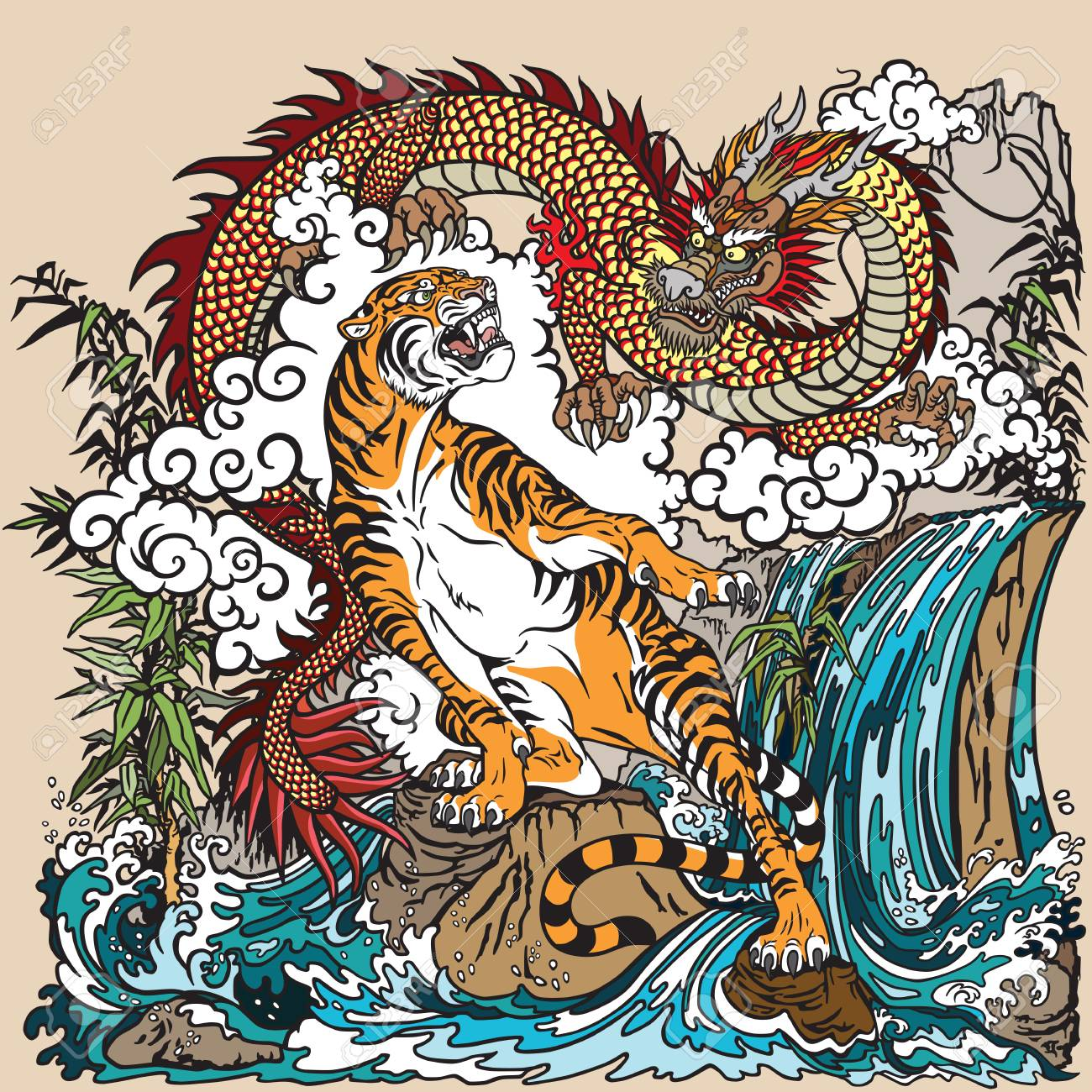 Chinese Dragon And Tiger In The Landscape With Waterfall , Rocks.. Royalty  Free Cliparts, Vectors, And Stock Illustration. Image 106057508.