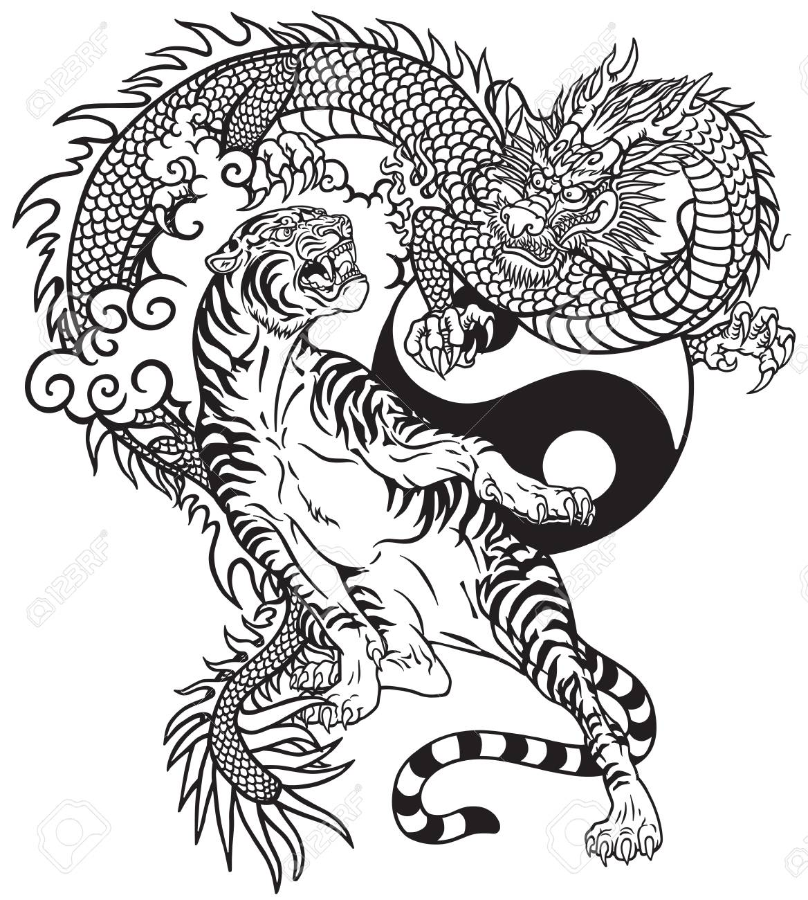 Chinese Dragon Versus Tiger Black And White Tattoo Vector