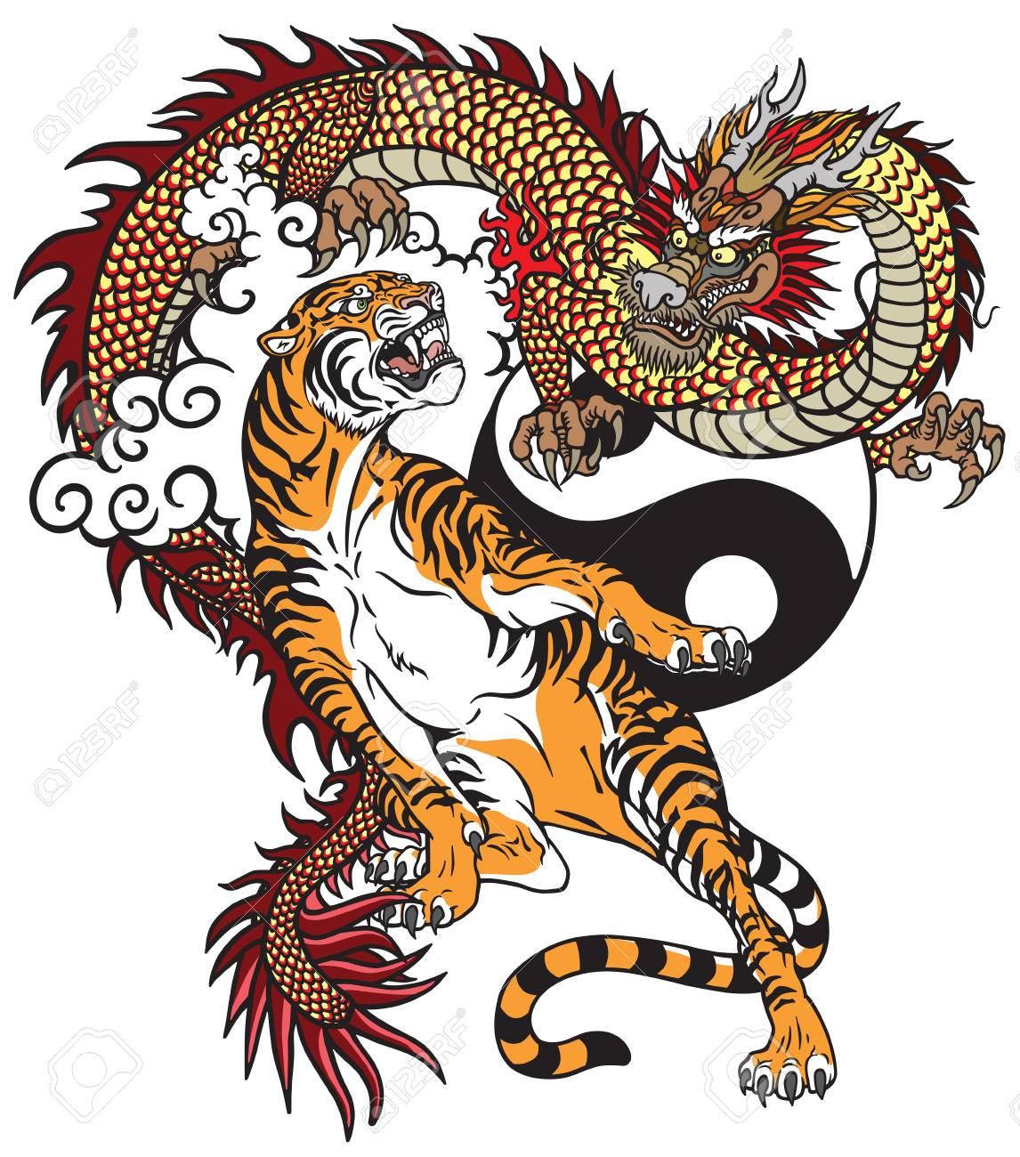 Chinese Dragon Versus Tiger Tattoo Vector Illustration Included