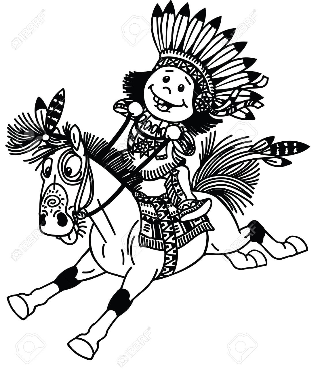 Cartoon Kid Wearing Native Indian Costume And Riding M Pony Horse Royalty Free Cliparts Vectors And Stock Illustration Image 116481016