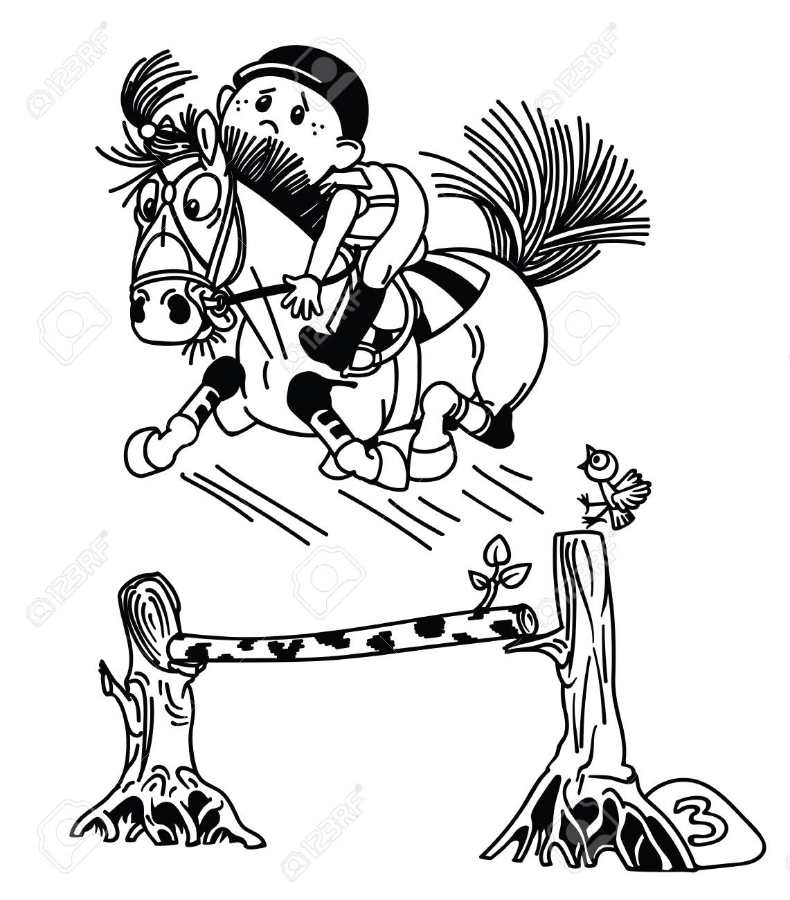 Cartoon Boy Training His Pony Horse Jumping Over Obstacle Funny Royalty Free Cliparts Vectors And Stock Illustration Image 116481020