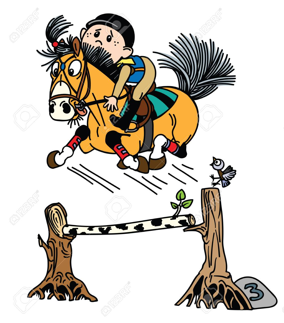 Cartoon Boy Training His Pony Horse Jumping Over Obstacle Funny Royalty Free Cliparts Vectors And Stock Illustration Image 116481032