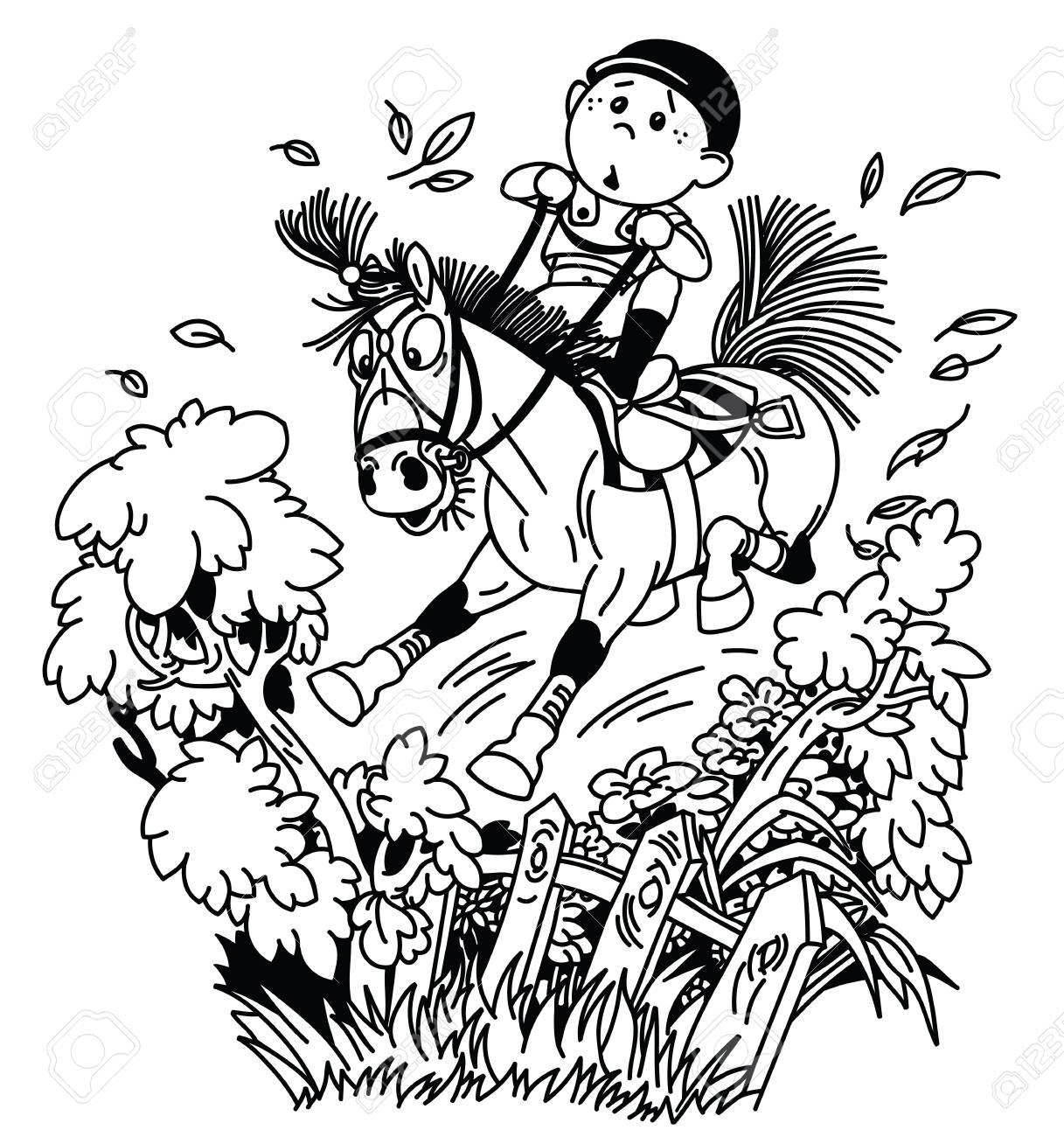 Cartoon Kid Jockey Riding His Pony Horse And Training To Jump Royalty Free Cliparts Vectors And Stock Illustration Image 116481034