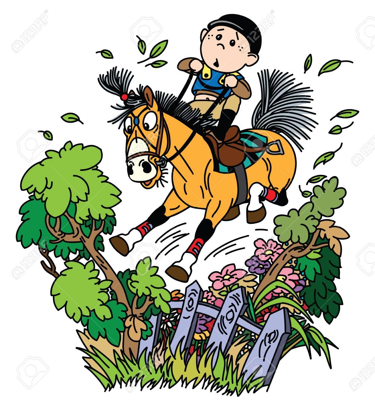 Cartoon Boy Jockey Riding His Pony Horse And Training To Jump Royalty Free Cliparts Vectors And Stock Illustration Image 116481037