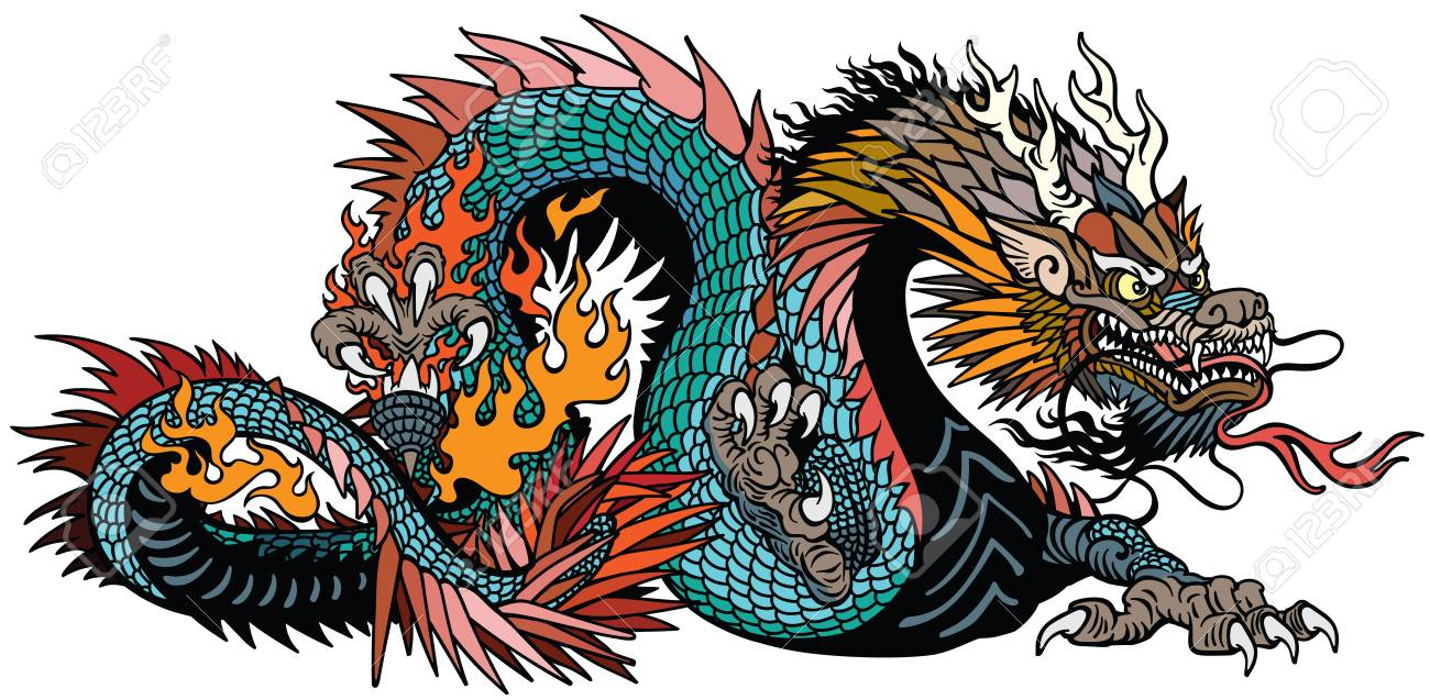 azure also blue green Chinese dragon. Asian and Eastern mythological creature. Isolated tattoo style vector illustration - 119096787