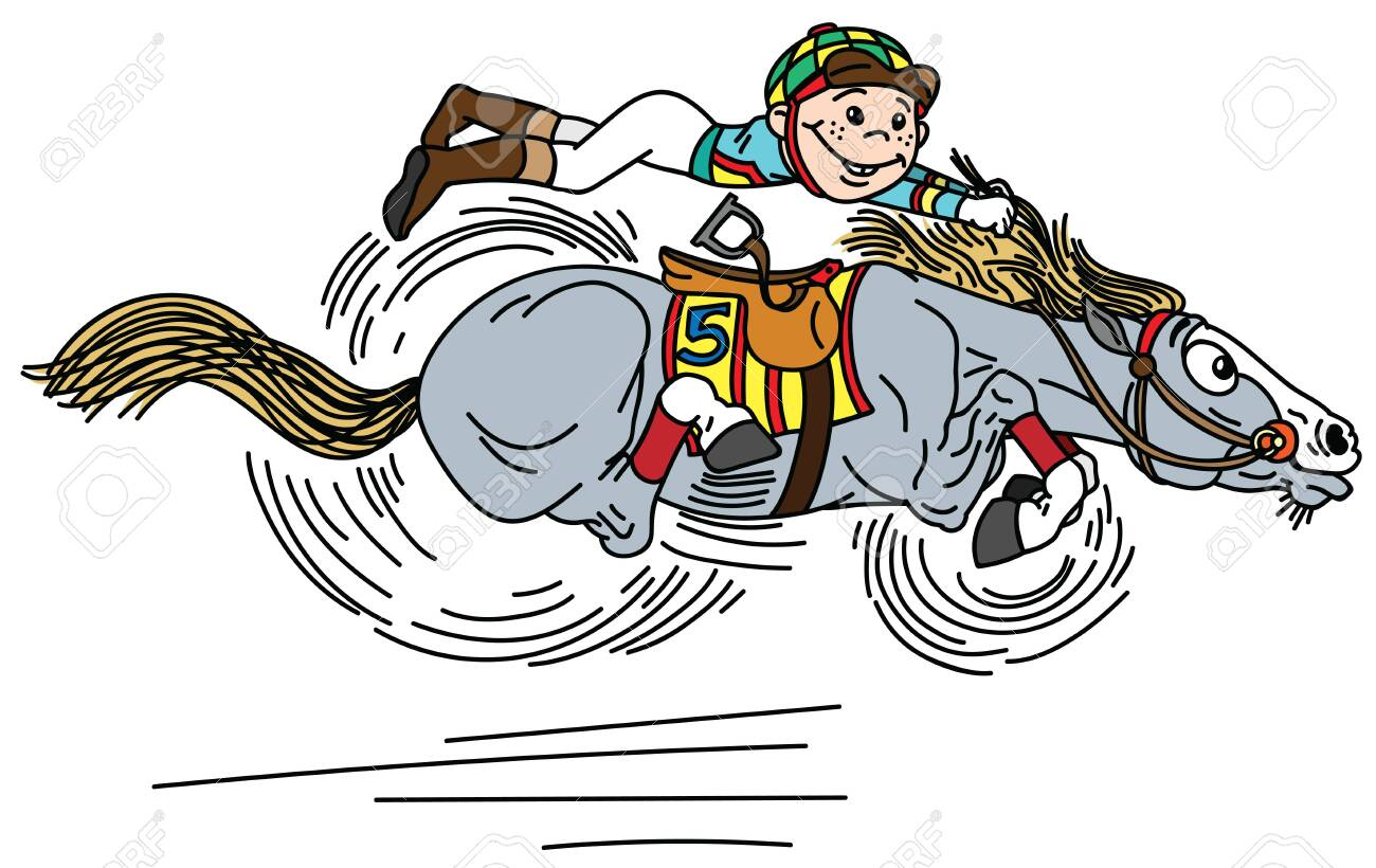 Cartoon Horse Racing Derby Little Boy Jockey Riding A Pony Royalty Free Cliparts Vectors And Stock Illustration Image 119096811