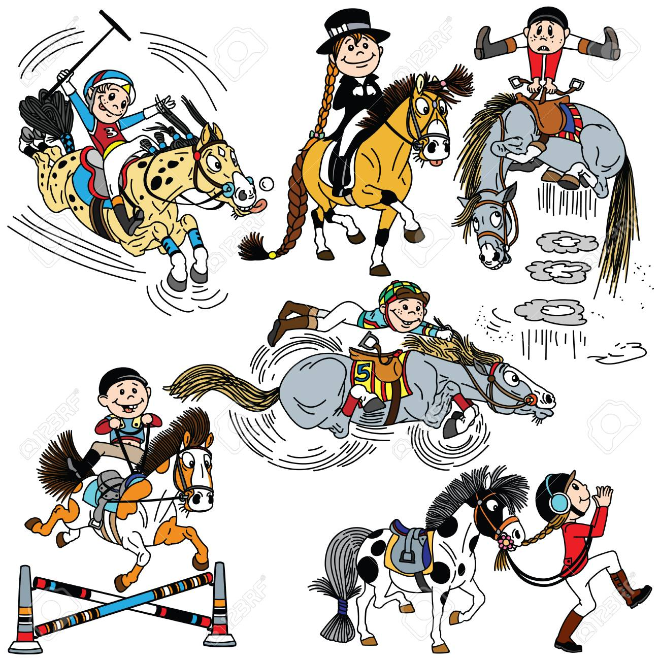 Set Of Cartoon Child Riding A Horse Kid Training His Pony Collection Royalty Free Cliparts Vectors And Stock Illustration Image 119986382