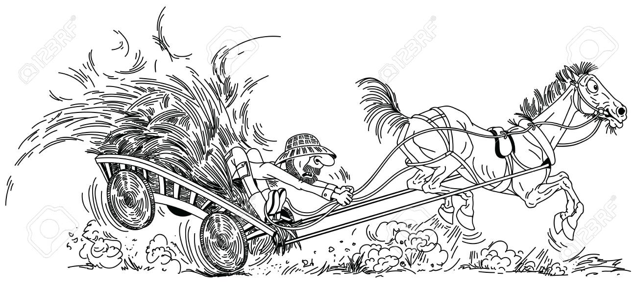 Cartoon Farmer On Wooden Cart With Hay Pulled By Unruly Old Horse Royalty Free Cliparts Vectors And Stock Illustration Image 120846792
