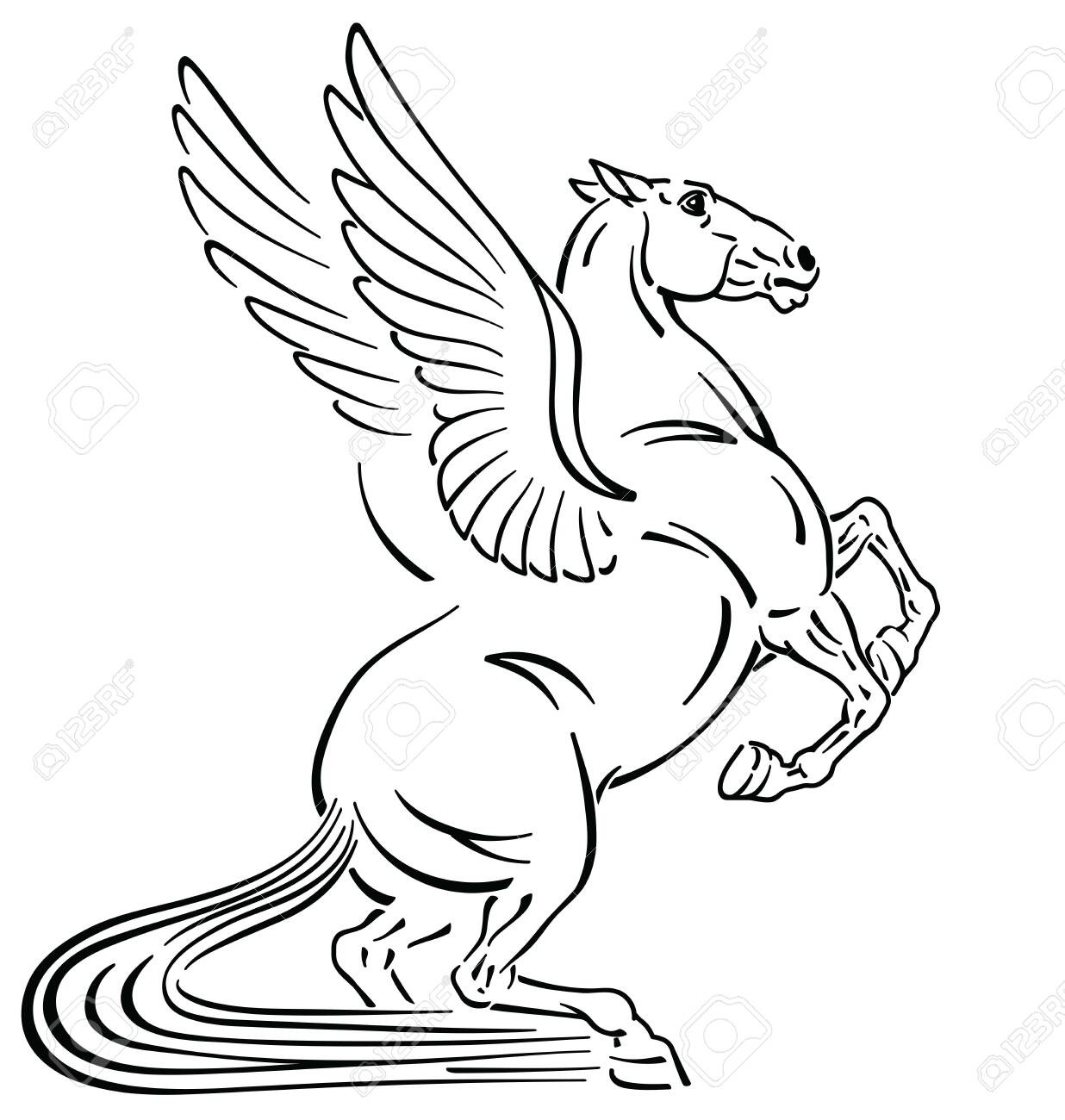 Pegasus Mythological Winged Horse Outline Tattoo Style Vector Royalty Free Cliparts Vectors And Stock Illustration Image 120846796