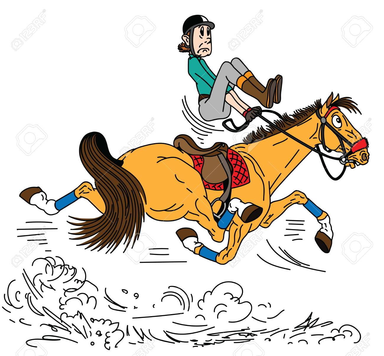 cartoon rider riding a horse . The adult man sitting on a fast trotting horseback and trying to balance in the saddle . Lesson of equestrian sport . Side view vector illustration - 120846798