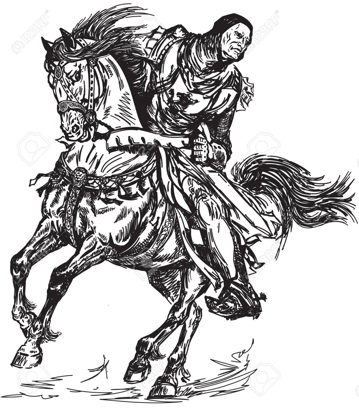 Medieval Knight Galloping His Horse Black And White Graphic Royalty Free Cliparts Vectors And Stock Illustration Image 125019693