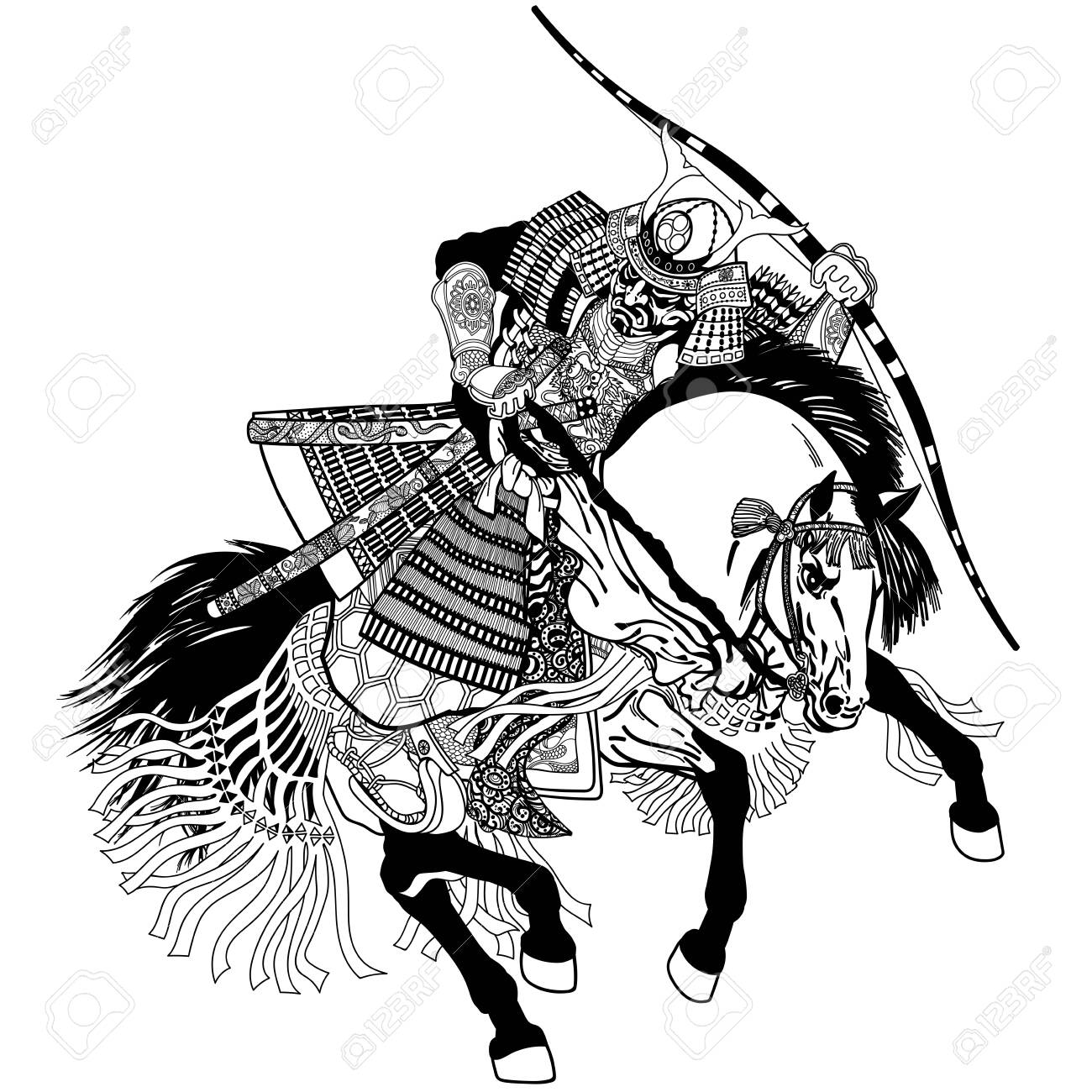Japanese Samurai Horse Rider Dressed In Full Leather Armor Helmet Royalty Free Cliparts Vectors And Stock Illustration Image 131094861