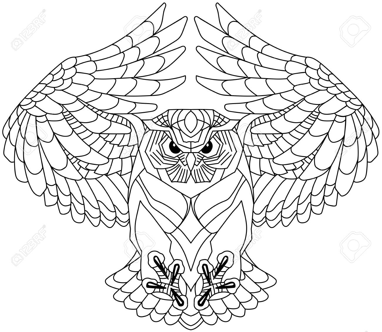 flying owl with open wings looking deep with a sharp gaze. Black and white outline tattoo. Front view vector illustration - 139486139
