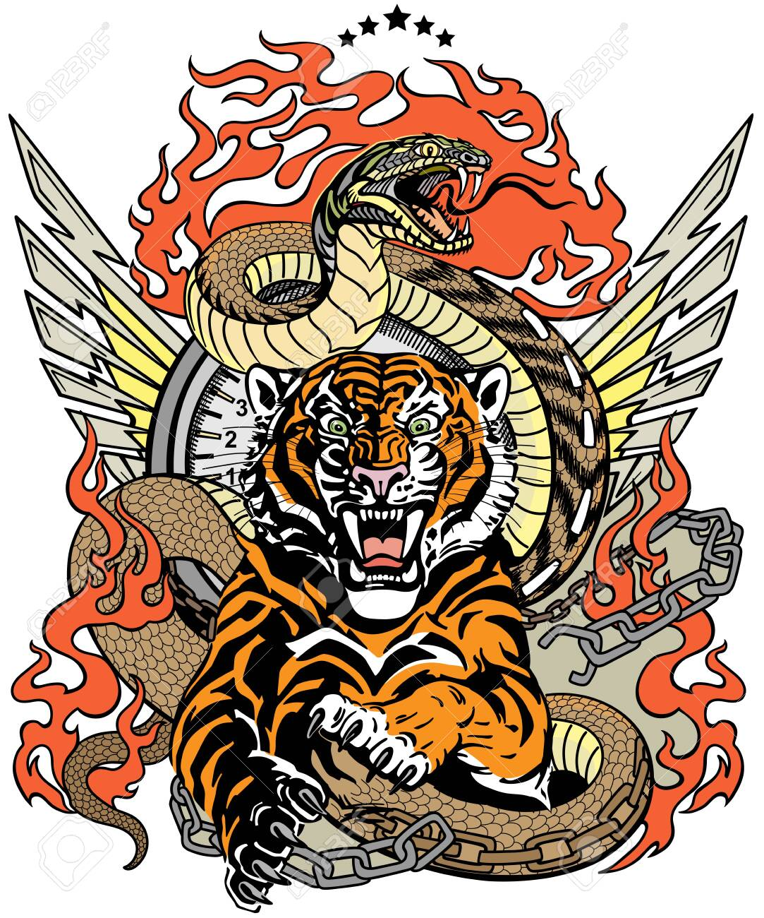 roaring tiger in the jump and snake like road. Design template include broken chain, tongues of flame and wings. Biker Tattoo. Vector illustration - 144077399