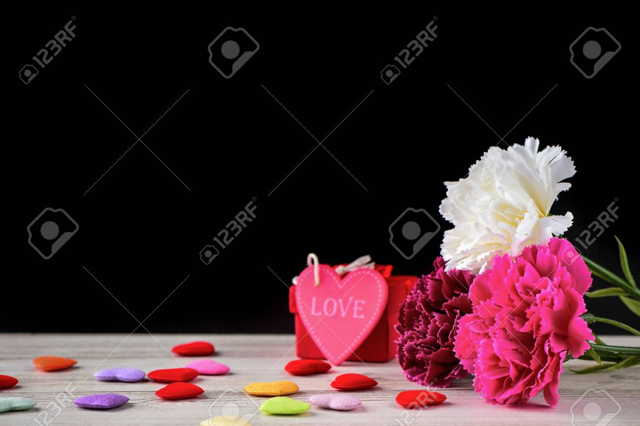 May mothers day carnation bunch of flowers bouquet with heart may mothers day carnation bunch of flowers bouquet with heart and gift blank for text izmirmasajfo Images