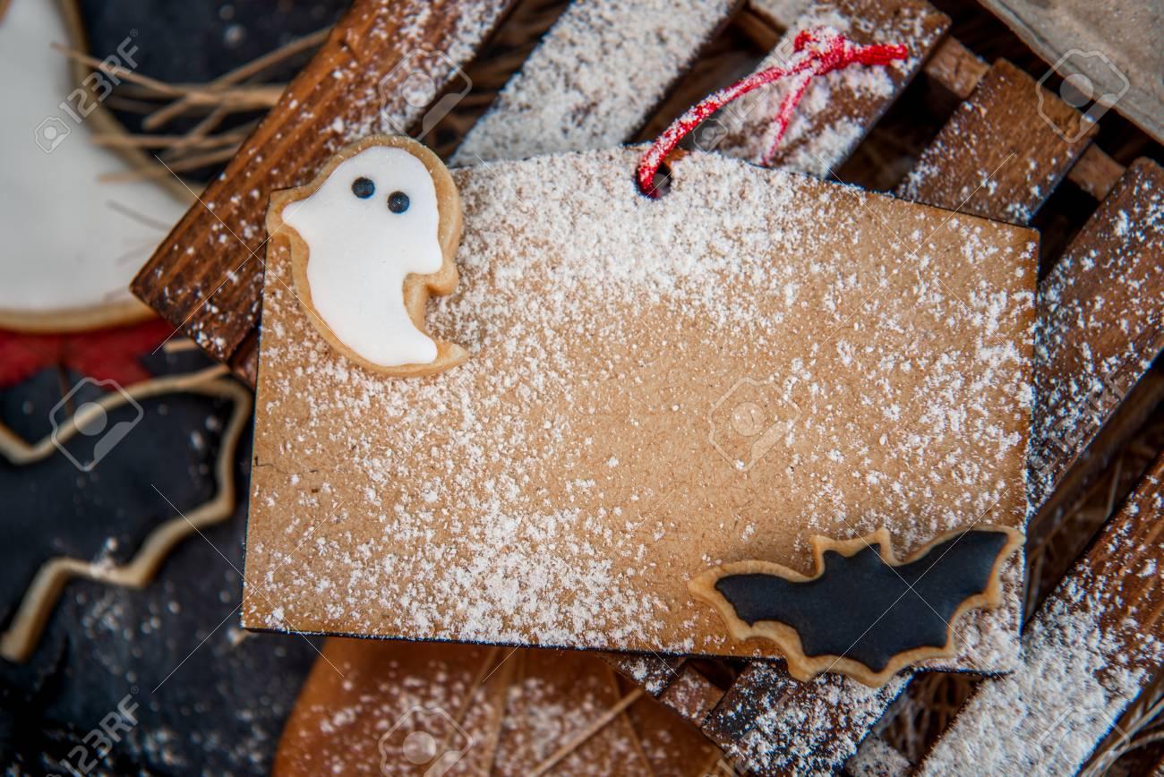 funny halloween treats eyeball in egg on dark background copy
