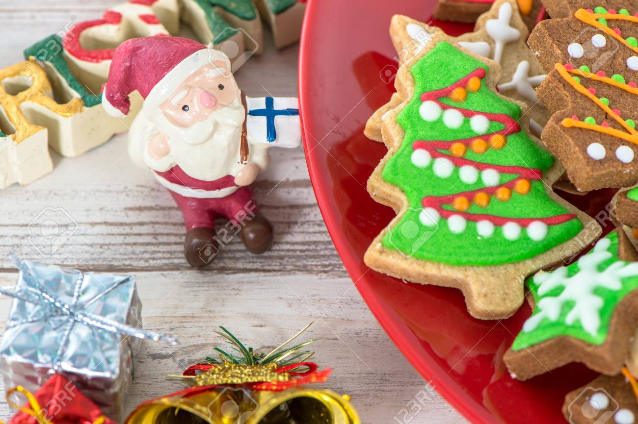 Tasty And Cute Baked Christmas Cookies Gingerbread With Beautiful