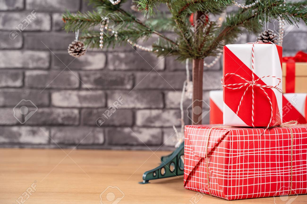Decorated Christmas Tree With Wrapped Beautiful Red And White Stock Photo Picture And Royalty Free Image Image 153368620