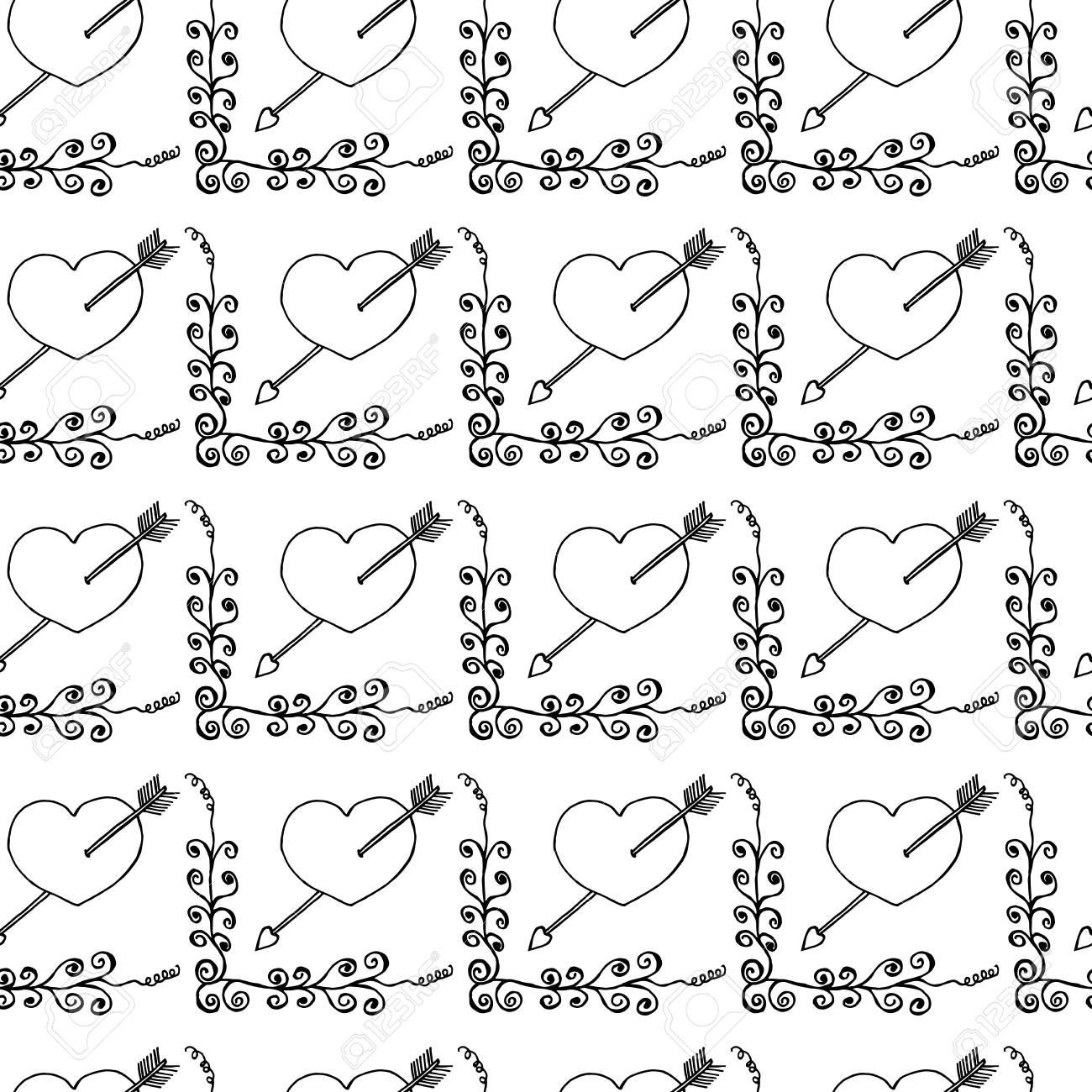 Dibujo A Mano Doodled Patrón Con Corazones Románticos Ilustración De Vector Dibujado A Mano Fondo Perfecto Del Bosquejo Inconsútil Para El Día De