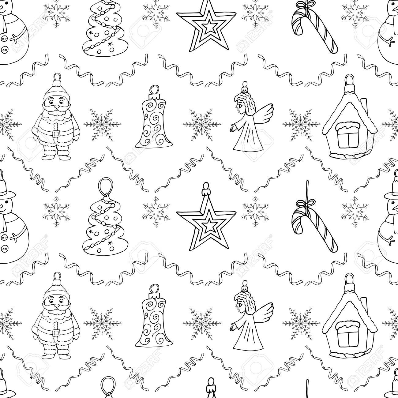 Christmas Drawing.Christmas Drawing Illustration Hand Drawn Santa Claus Tree