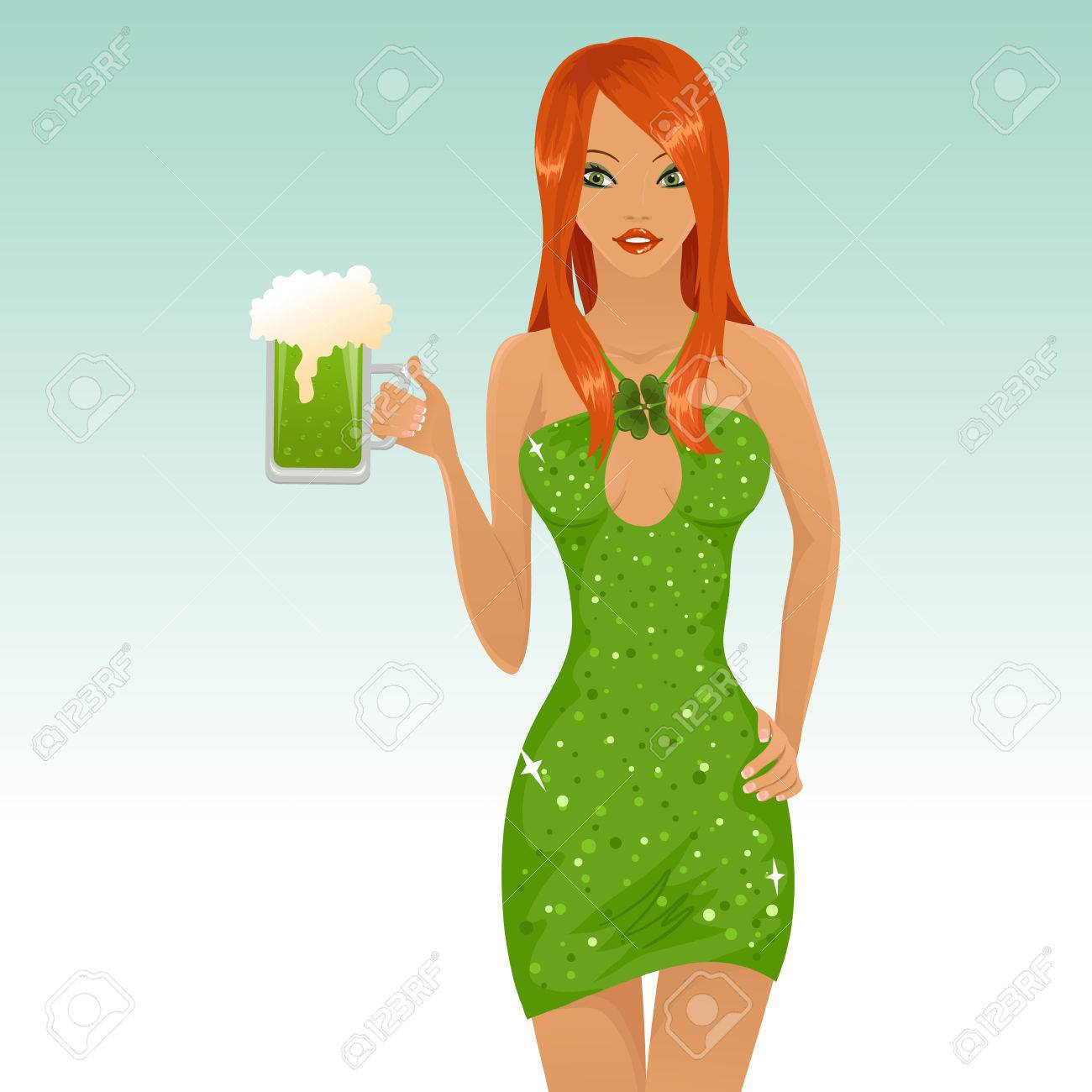 Sexy leprichaun girl holding a glass of beer Stock Vector - 6365254