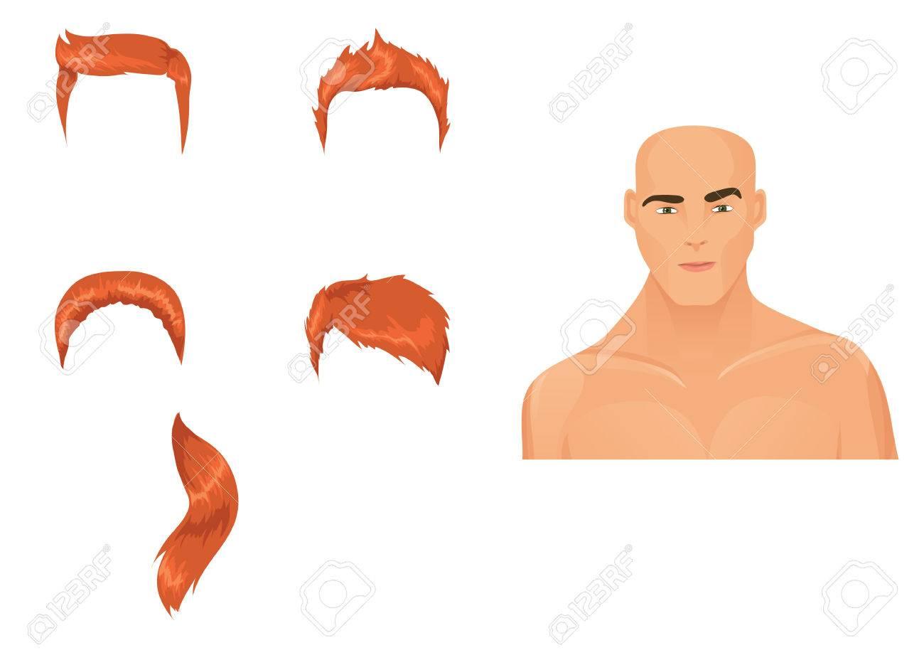 Banque dimages , Hommes de tête avec assortiment de coupe de cheveux. Redhead irlandais