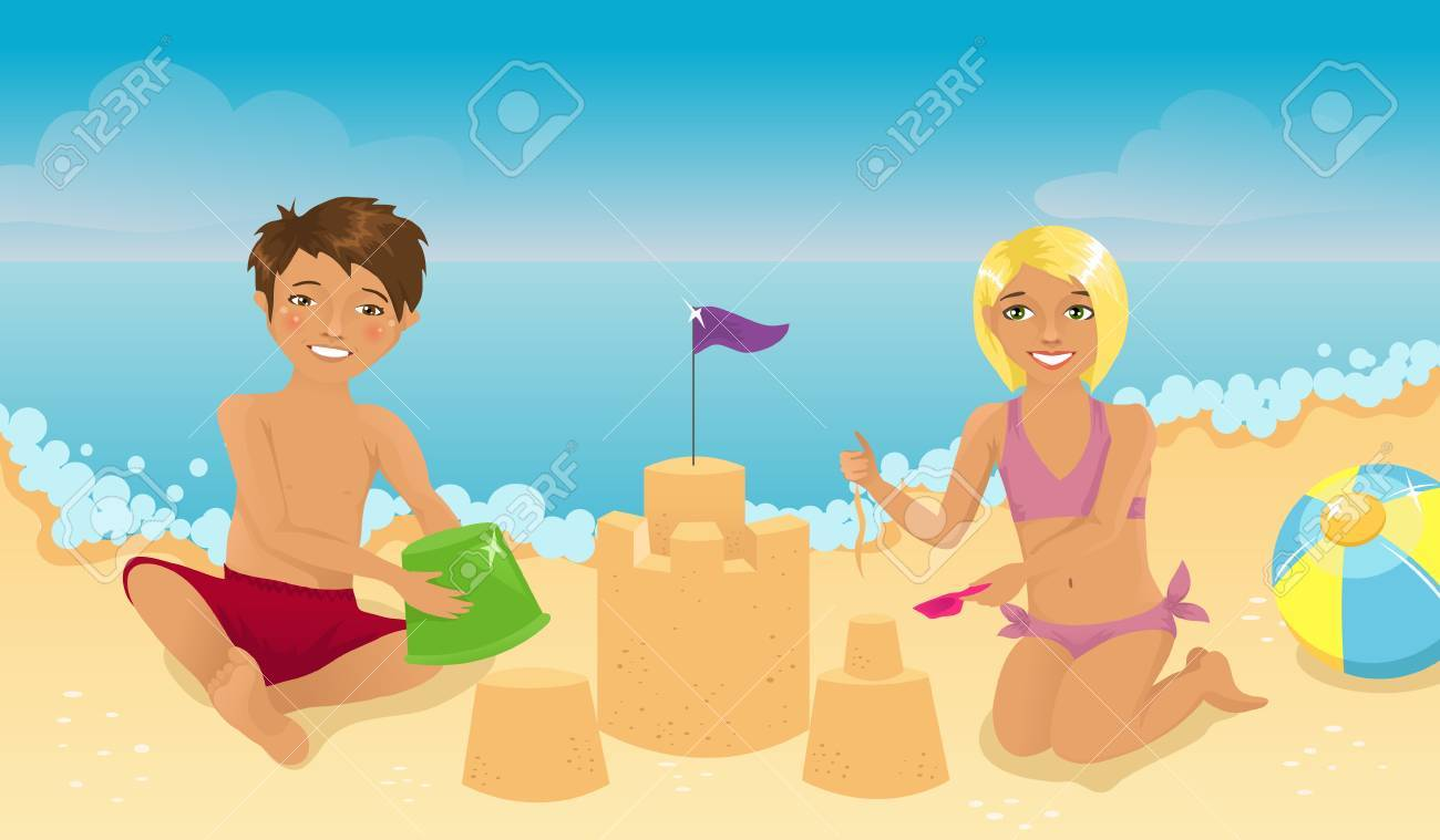 Kids playing on the beach Stock Vector - 9212621