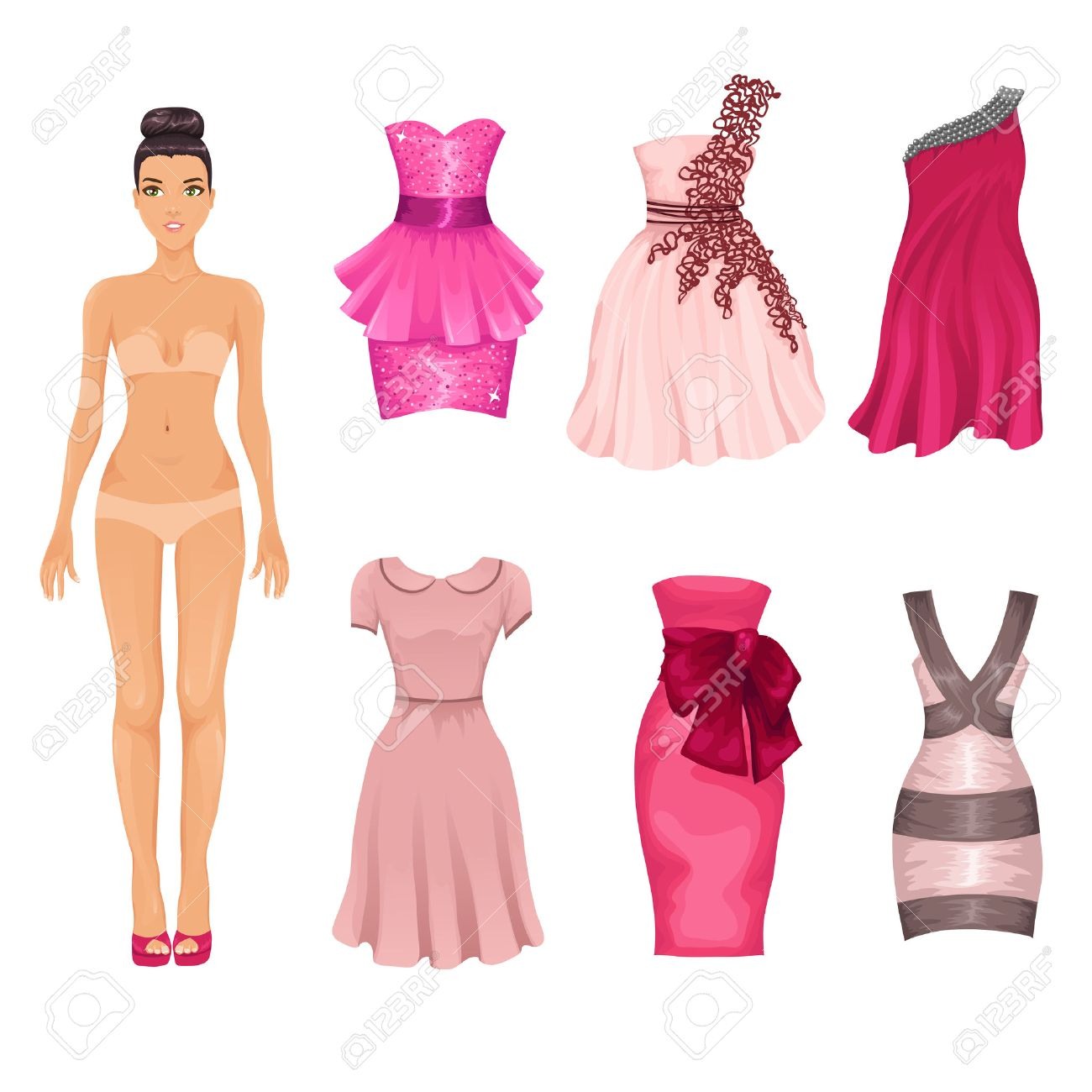 dress up doll with an assortment of pink prom and cocktail dresses