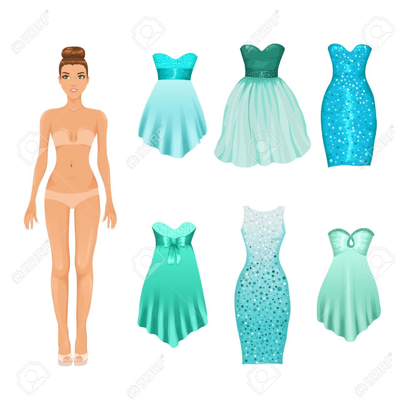 vector dress up doll with an assortment of turquoise prom and