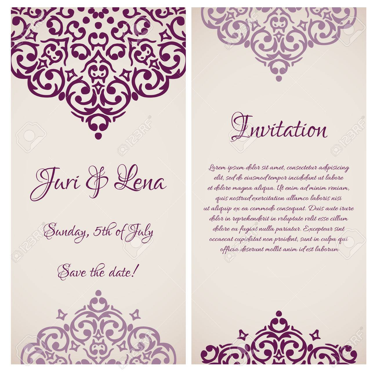 Vector baroque damask wedding invitation banners with a place vector vector baroque damask wedding invitation banners with a place for your text stopboris Images