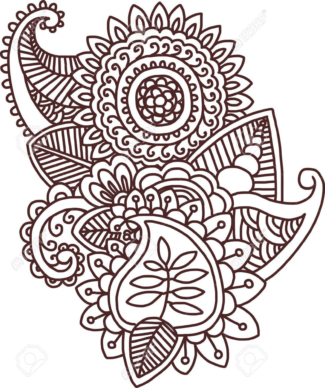 vector ethnic mehndi pattern template for mehndi ornament hand