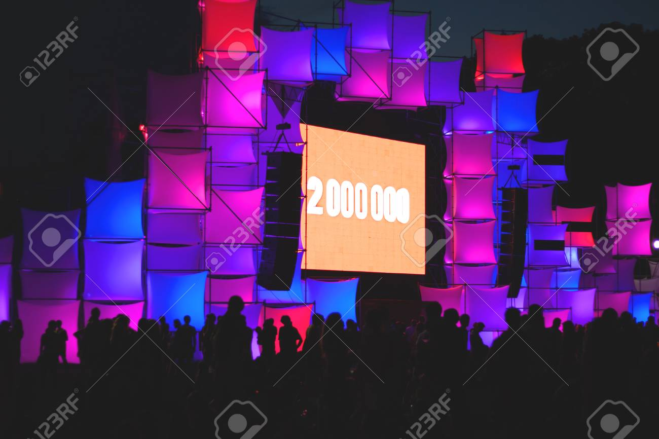 the stage is decorated with glowing cubes rgb stock photo picture
