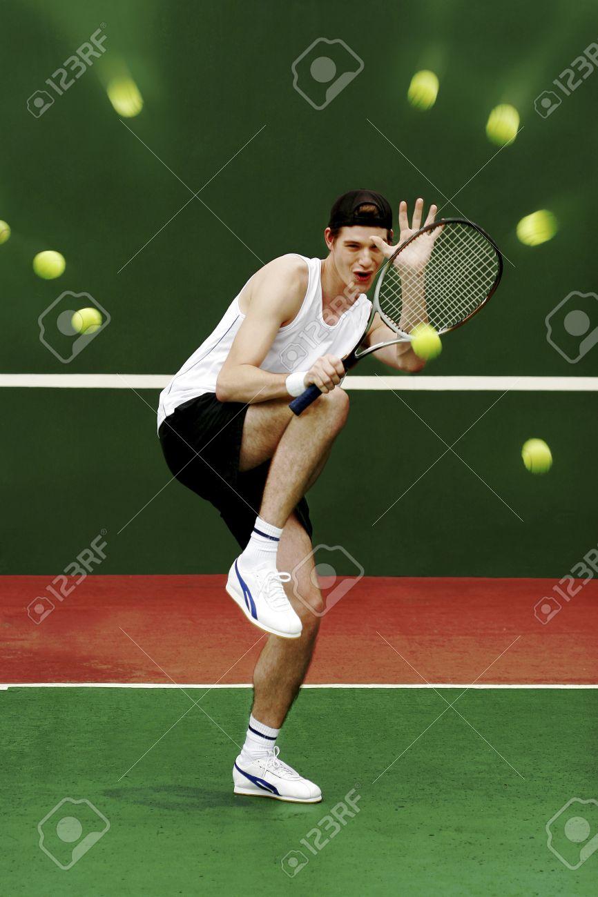 26129978-A-man-using-his-tennis-racquet-