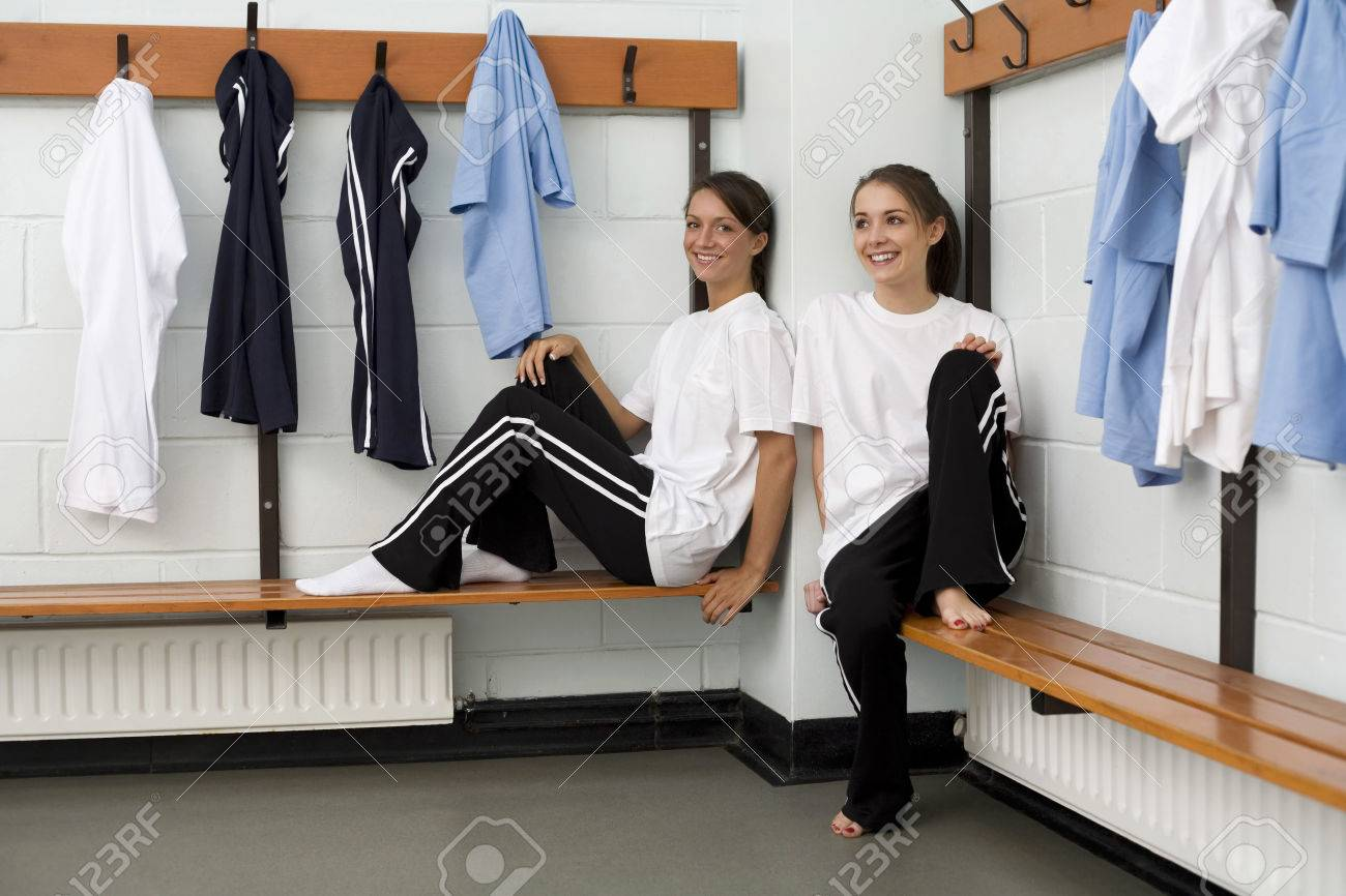 Girls Relaxing In The Changing Room Stock Photo, Picture And Royalty ...