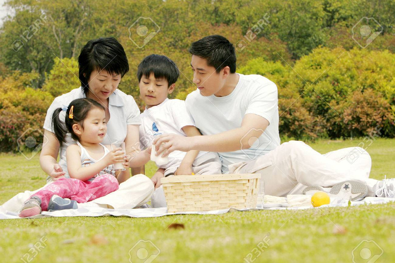 A family picnicking in the park Stock Photo - 26382427